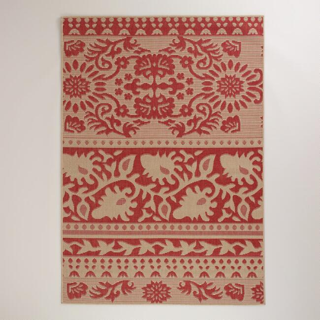 5'x7' Red Ban Thai Indoor-Outdoor Rug