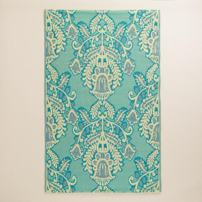 4'x6' Blue and Ivory Goddess Rio Indoor-Outdoor Floor Mat