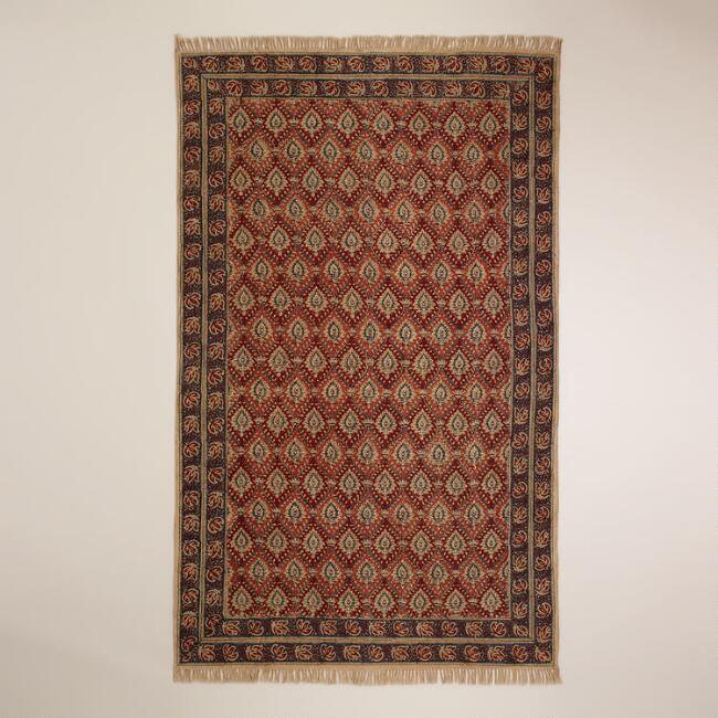 5'x8' Rust Bordered Block Print Kalamkari Rug