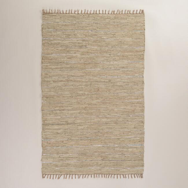 4'x6' Reclaimed Leather Metallic Chindi Rug