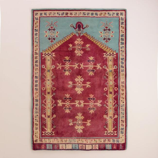 4'x6' Teal and Cranberry Tufted Wool Persian-Style Rug