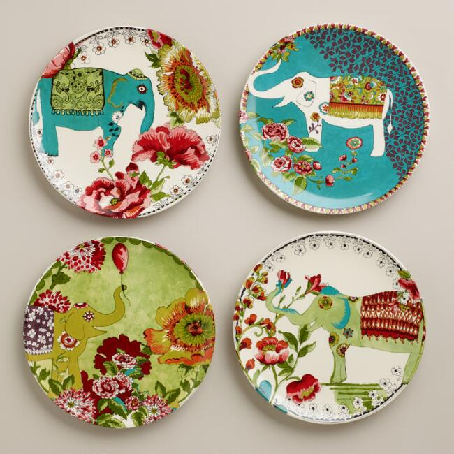 Nomad Elephant Plates, Set of 4