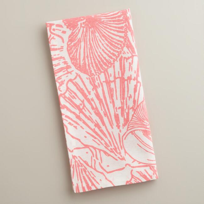Coral Seahorse Napkins, Set of 3