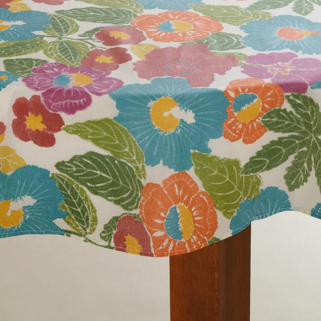 Bright Floral Round Oilcloth Tablecloth