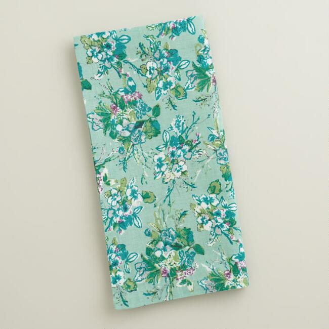 Blue Floral Ditzy Napkins, Set of 4