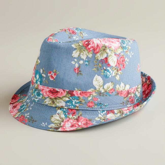 Blue Floral Fedora Hat  d3ae28bf5d9