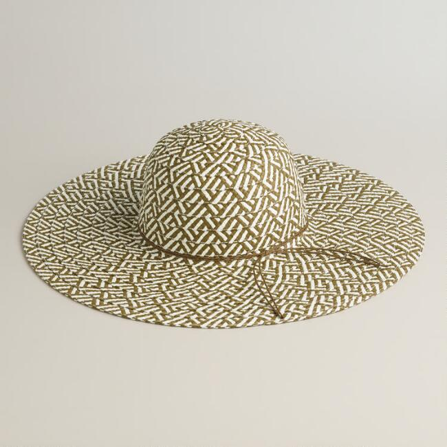 Brown and Ivory Chevron Sunhat