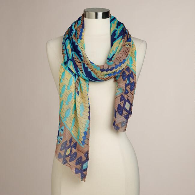 Natural and Blue Ikat Scarf