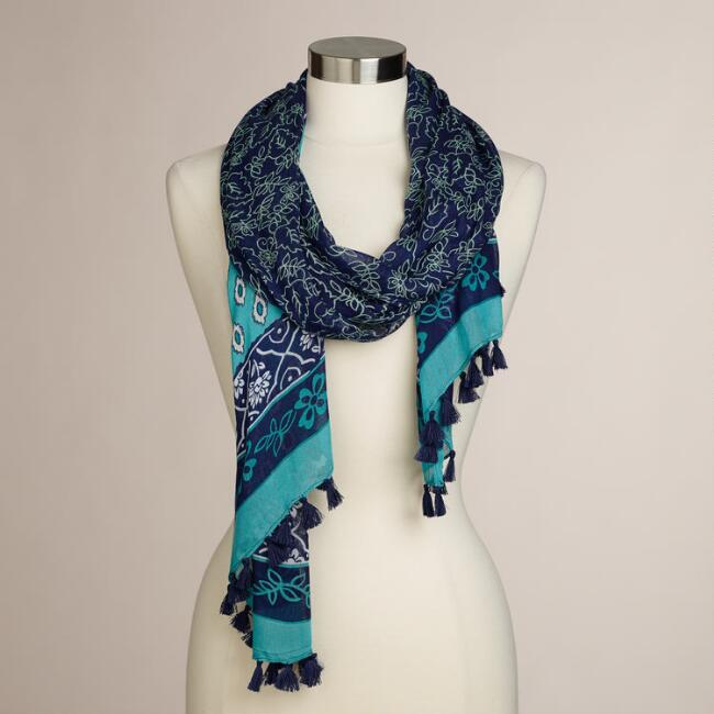 Blue and Turquoise Paisley Tassel Scarf