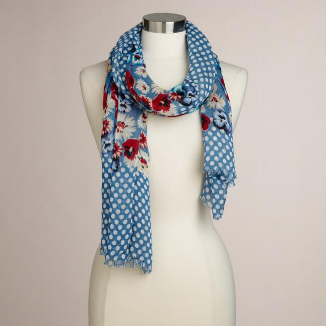 Blue Dots Floral Scarf
