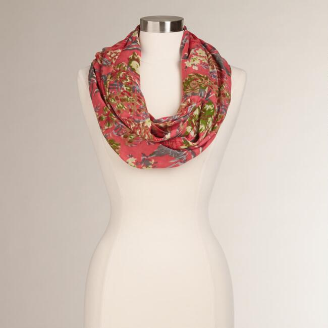 Watermelon Floral Infinity Scarf
