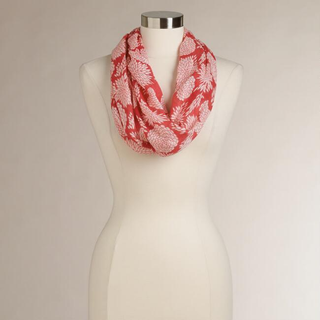 Red Hydrangea Infinity Scarf