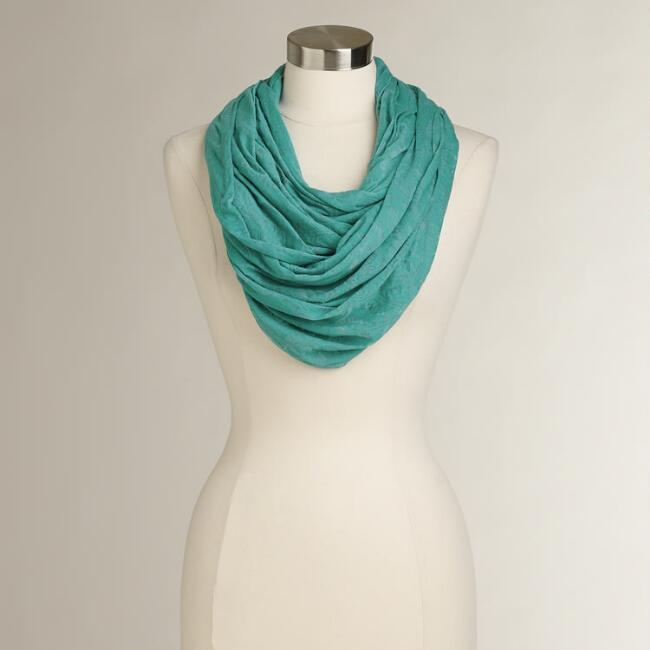 Turquoise Jersey Burnout Infinity Scarf