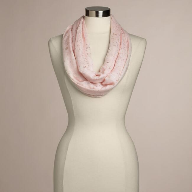 Pink with Gold Flecks Infinity Scarf