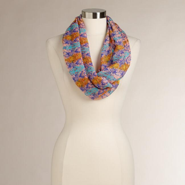 Pink, Blue and Orange Abstract Infinity Scarf