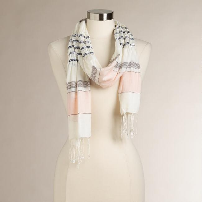 Pink Ruched Striped Scarf