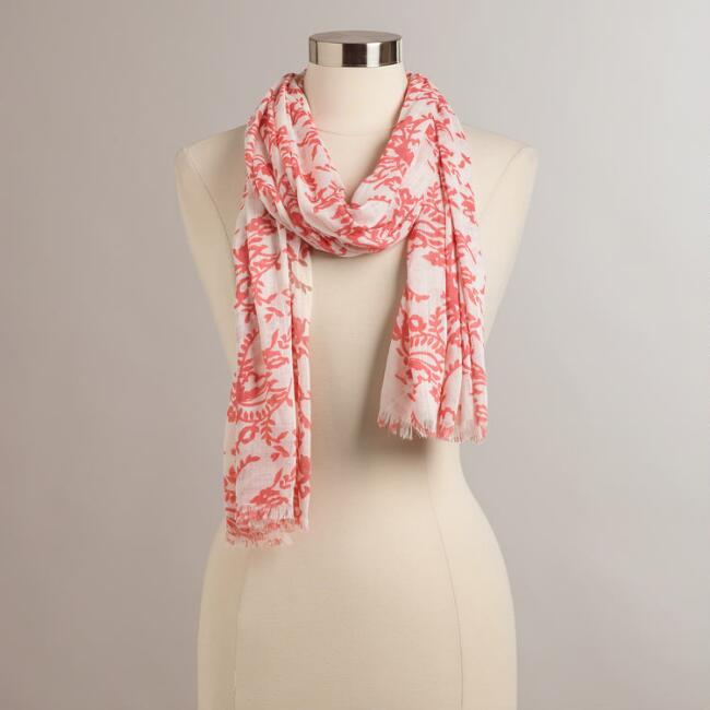 White and Pink Floral Scarf