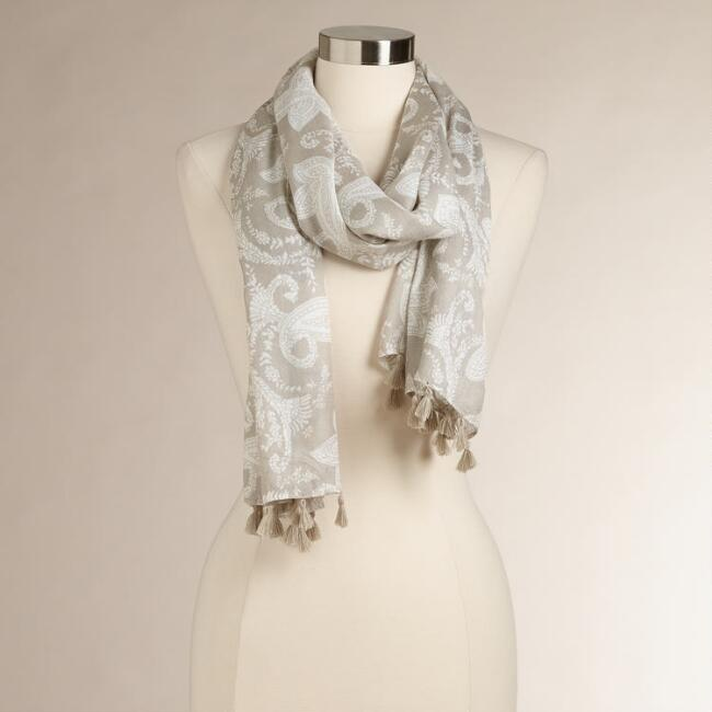 Gray and White Paisley Scarf with Tassels