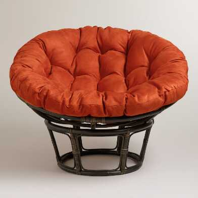 Rust Microsuede Papasan Chair Cushion