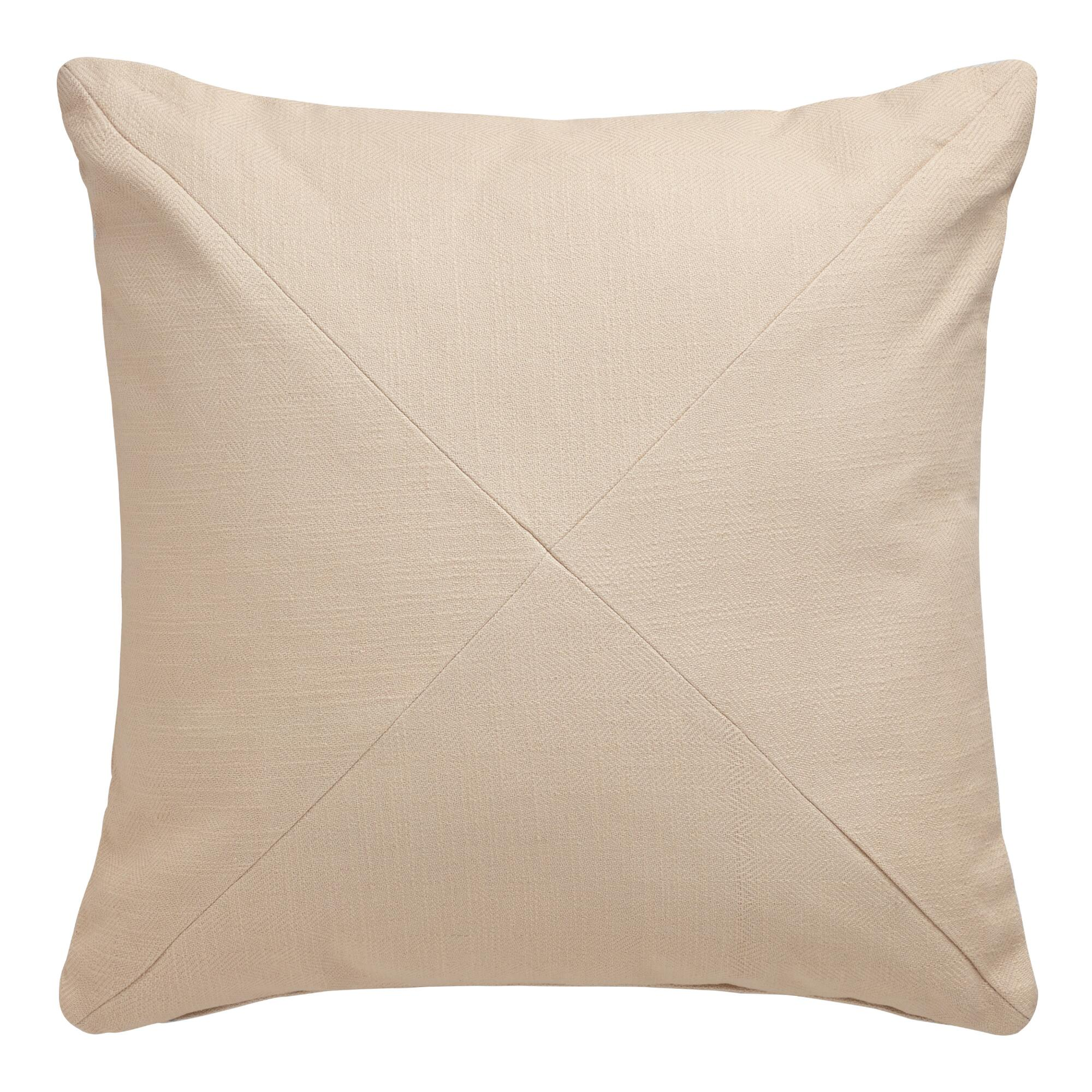 Natural Herringbone Cotton Throw Pillow: White/Natural - 20