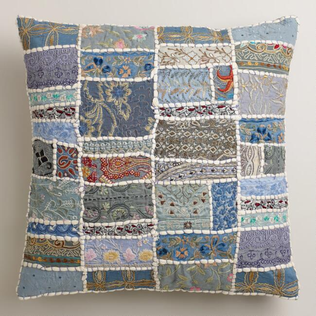 Cool Blue Sari Patchwork Suti Throw Pillow