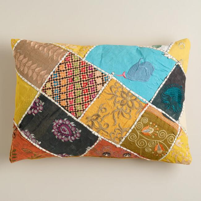 Multicolor Sari Patch Lumbar Pillow