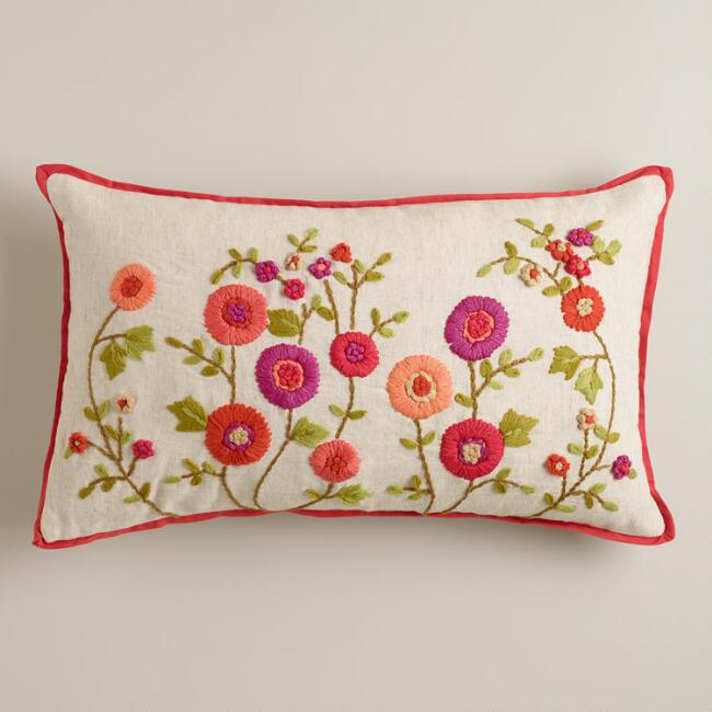 Warm Floral Embroidered Lumbar Pillow