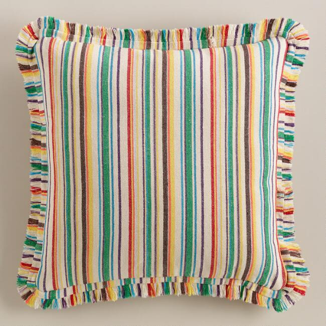 Multicolor Stripe Frayed Throw Pillow