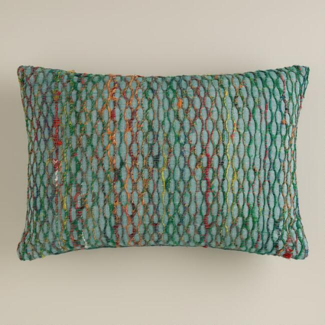 Blue Sari Honeycomb Lumbar Pillow