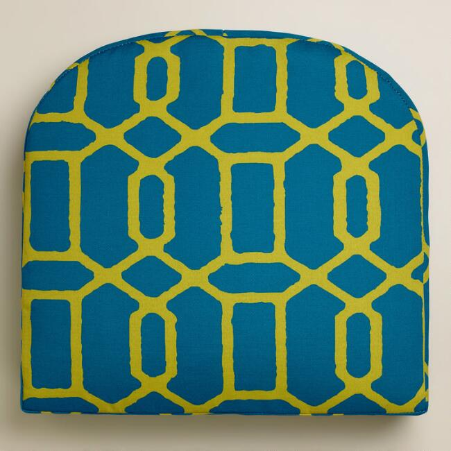 Blue and Green Gate Outdoor Gusset Chair Cushion