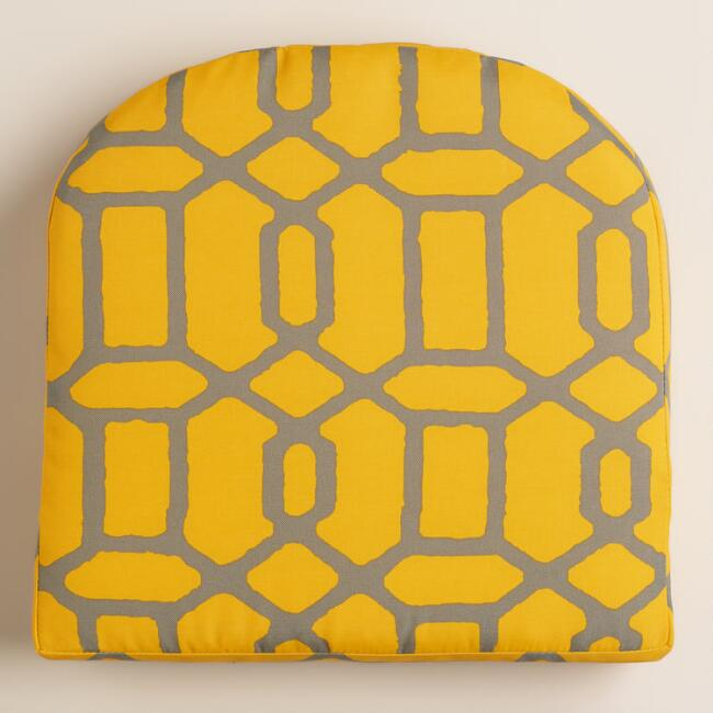 Yellow and Gray Gate Outdoor Gusset Chair Cushion