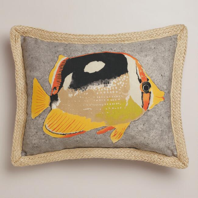 Butterfly Fish with Jute Outdoor Lumbar Pillow
