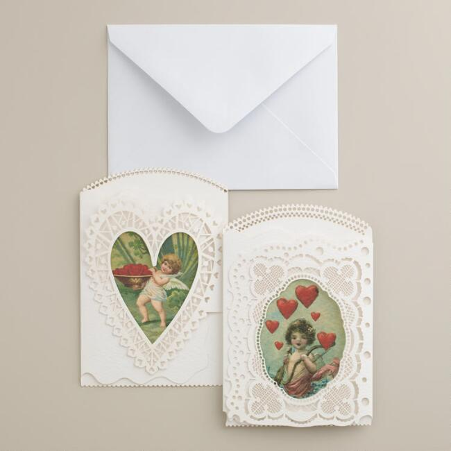 Vintage-Style Laser-Cut Valentine's Day Notecards, Set of 2