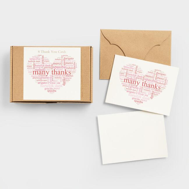 Many Thanks Heart Coaster Cards, Set of 8