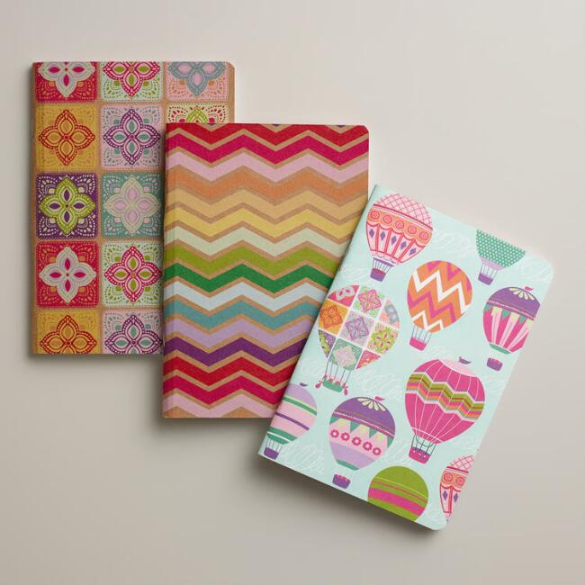 Spring Balloons and Kites Kraft Journals, 3-Pack