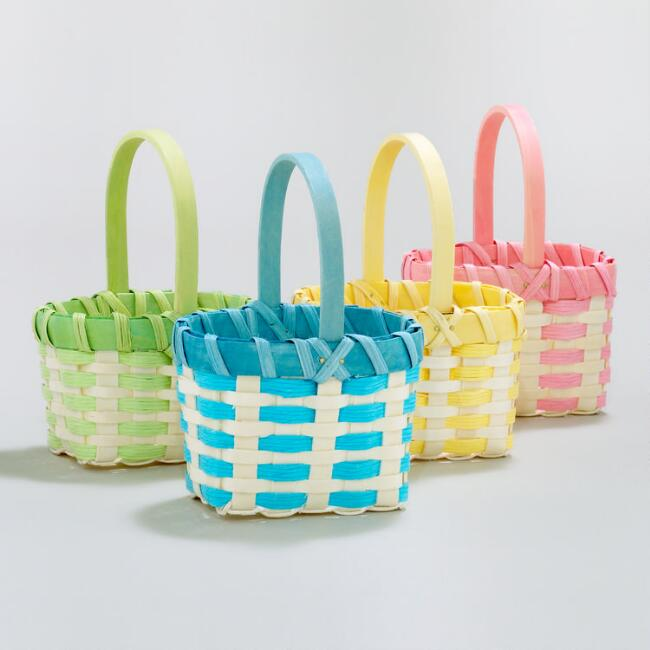 Mini Rope and Woodchip Easter Baskets, Set of 4