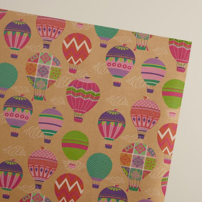 Hot Air Balloons Kraft Gift Wrap