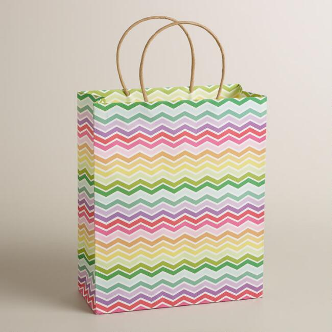 Large Multicolor Chevron Kraft Gift Bag