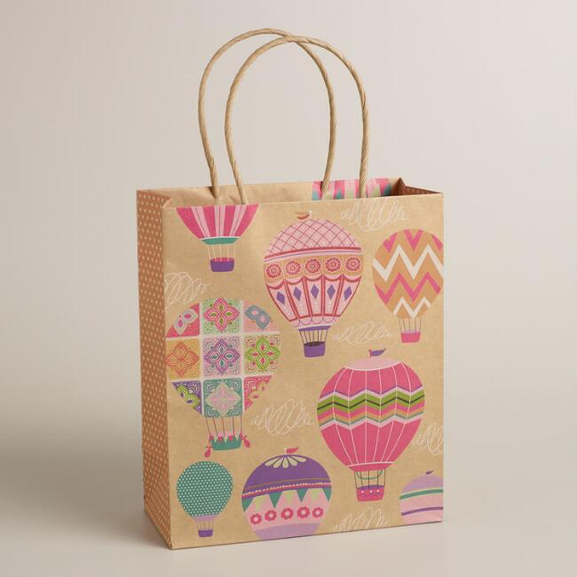 Medium Hot-Air Balloons Kraft Gift Bag