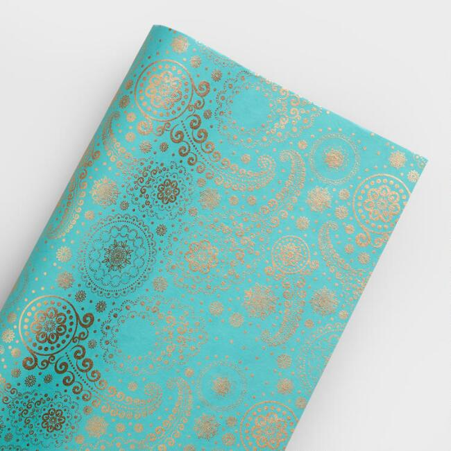 gold paisley handmade wrapping paper roll world market