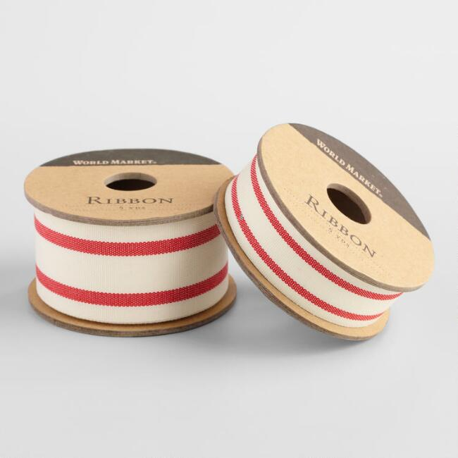 Red Ticking Stripe Woven Ribbon