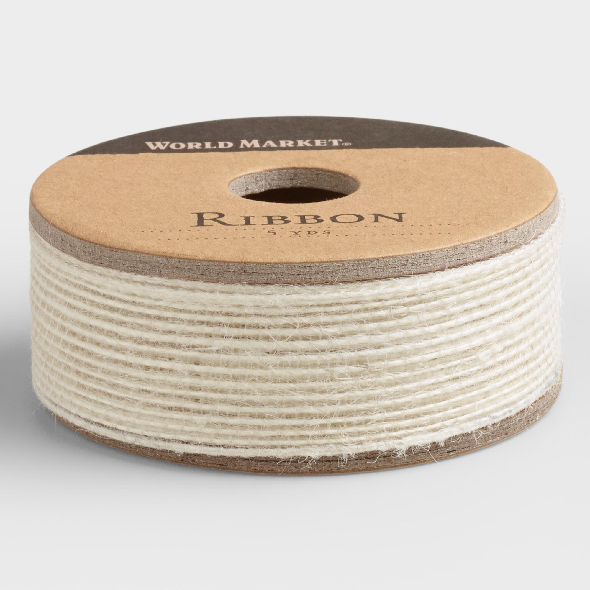 Cream Natural Woven Ribbon: White/Natural by World Market