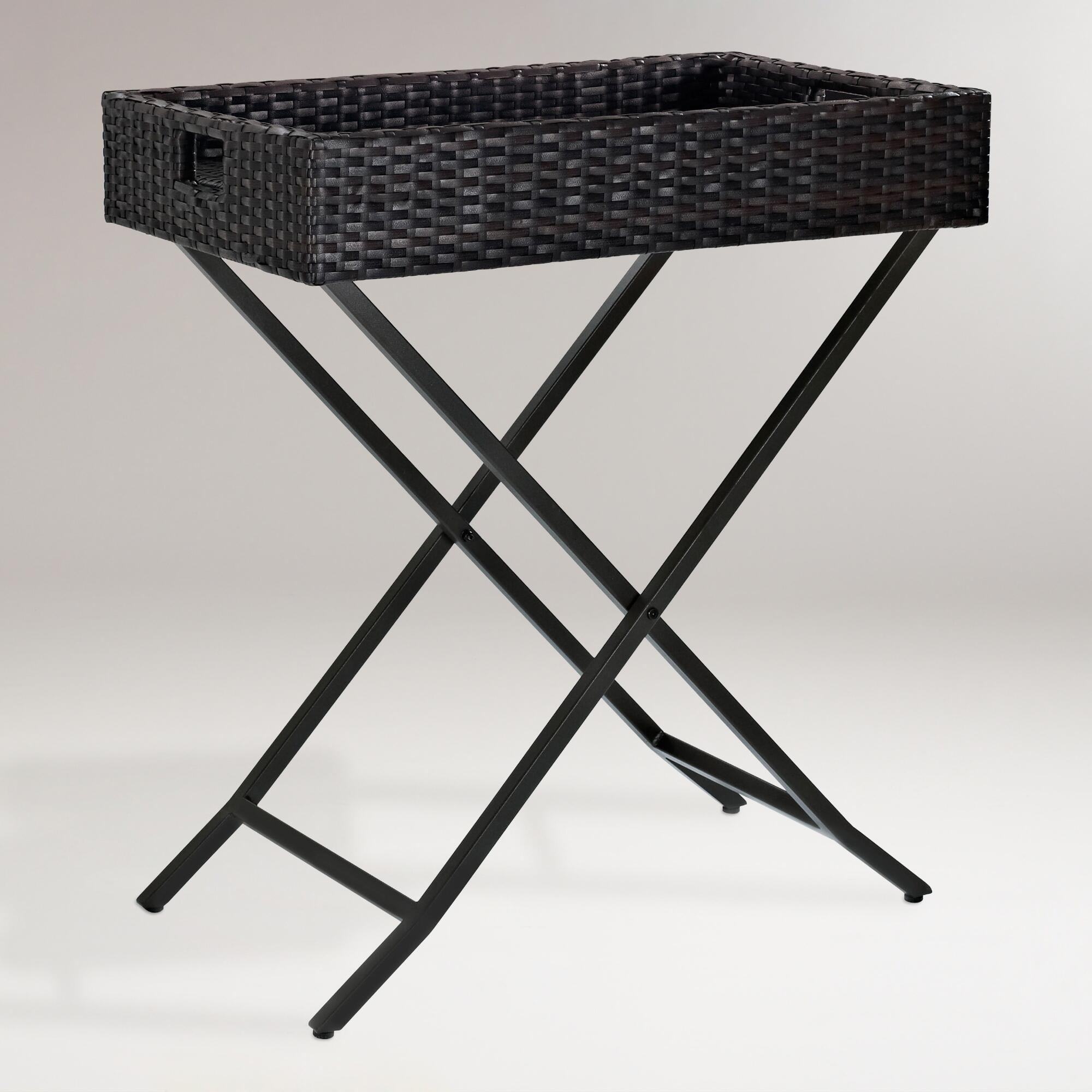 Pinamar Butler Tray Table: Brown - Resin by World Market
