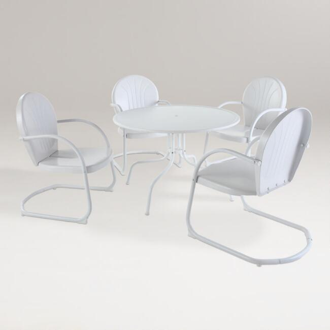 White Durresi Metal Dining Set, 5-Piece