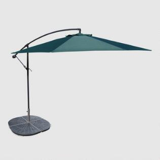 10  Green Cantilever Umbrella and Weight Base. Sale   World Market