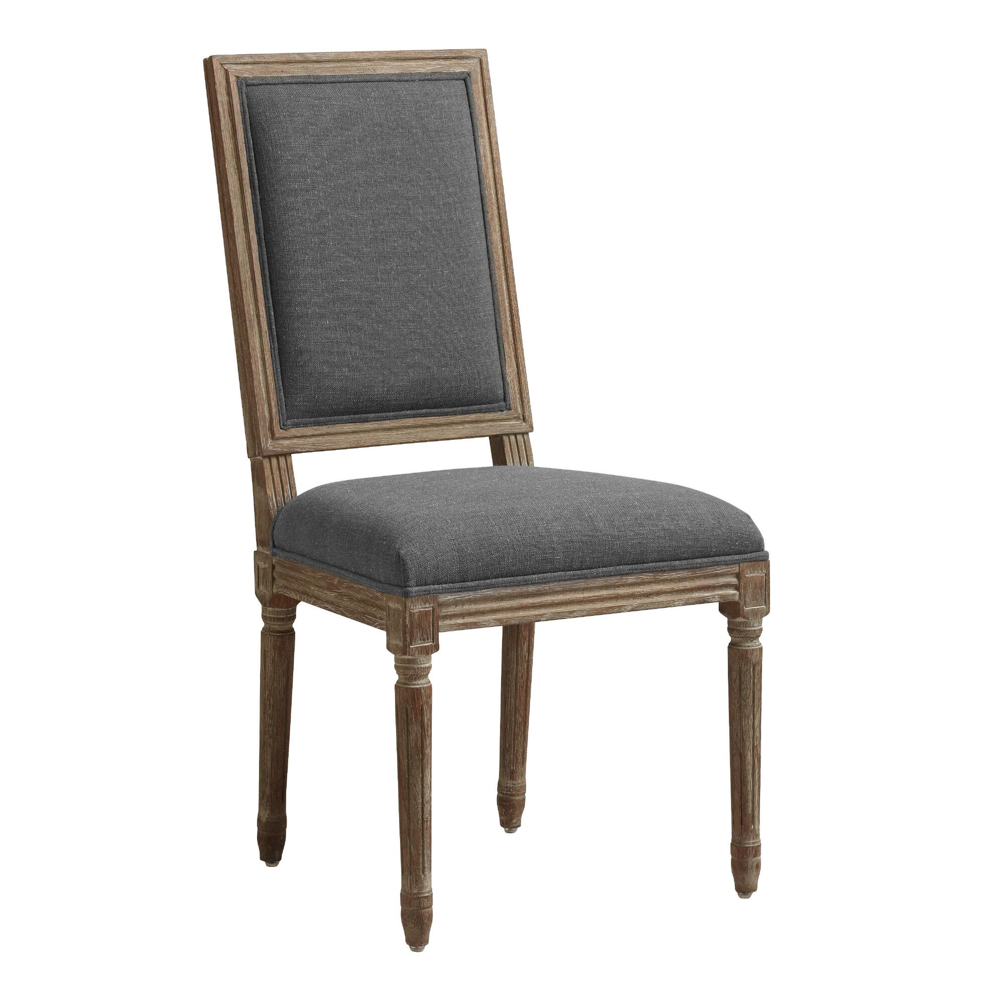 Charcoal Linen Square Back Paige Dining Chairs Set Of 2 World Market