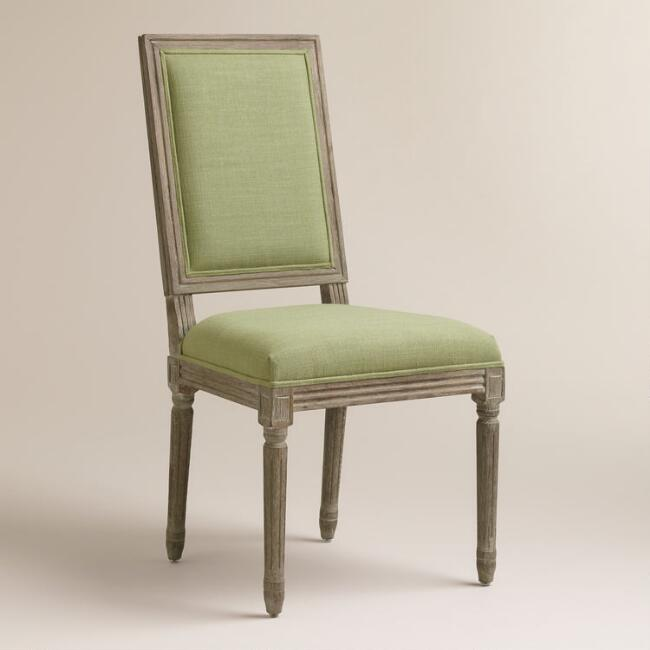 Desert Sage Linen Square-Back Paige Dining Chairs, Set of 2