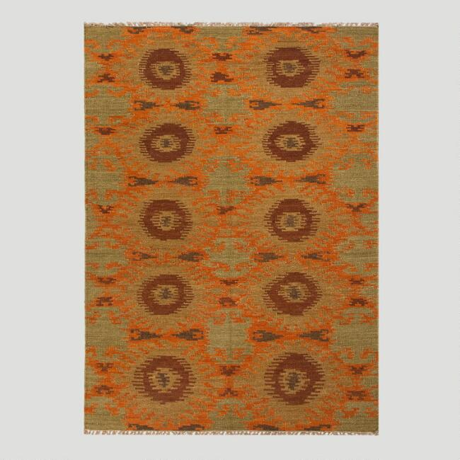 Orange and Green Abstract Kilim Flat-Woven Wool Rug