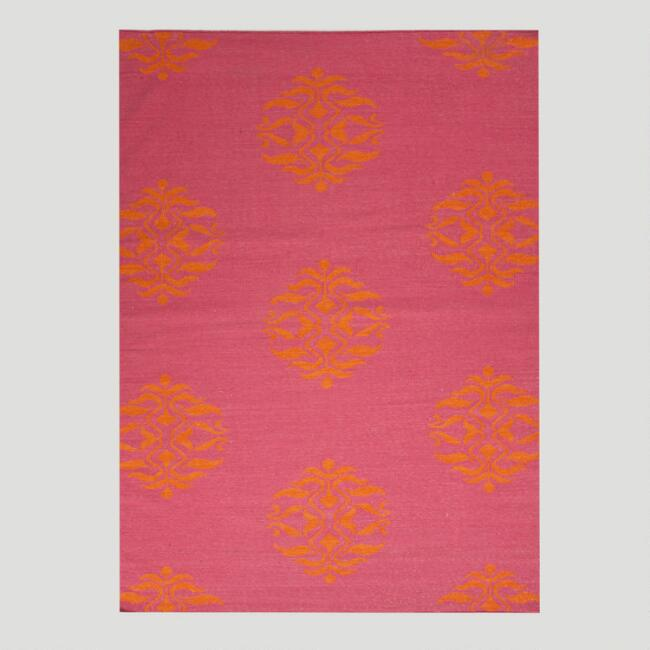 Pink and Orange Medallion Flat-Woven Wool Rug