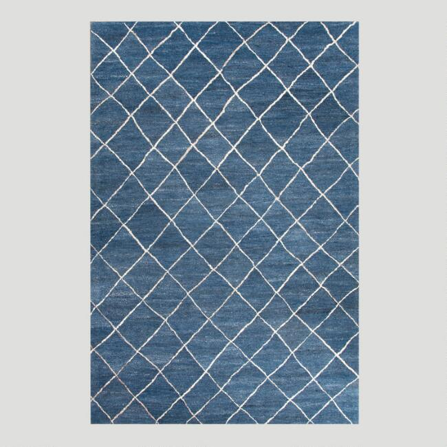 Blue Diamond Tufted Wool Rug